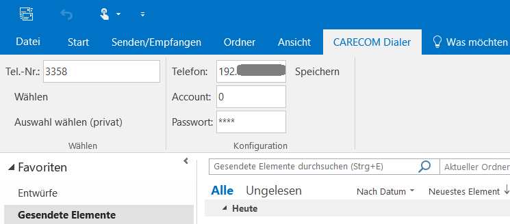 Screenshot CARECOM Dialer Outlook Addin